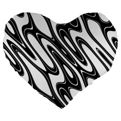Black And White Wave Abstract Large 19  Premium Heart Shape Cushions