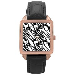 Black And White Wave Abstract Rose Gold Leather Watch
