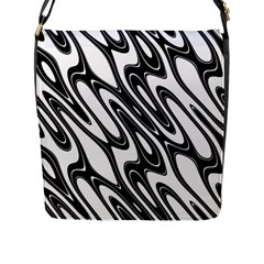 Black And White Wave Abstract Flap Messenger Bag (l)