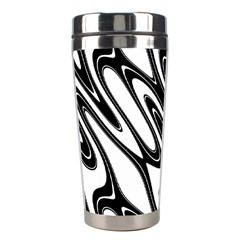 Black And White Wave Abstract Stainless Steel Travel Tumblers