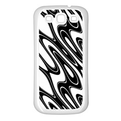 Black And White Wave Abstract Samsung Galaxy S3 Back Case (white)
