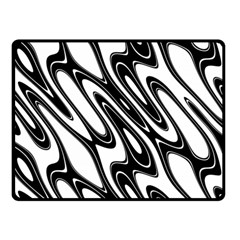 Black And White Wave Abstract Double Sided Fleece Blanket (small)