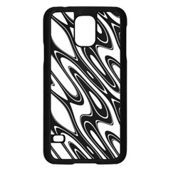 Black And White Wave Abstract Samsung Galaxy S5 Case (black)