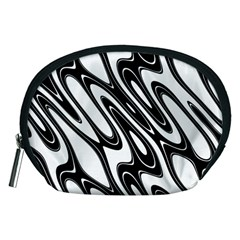 Black And White Wave Abstract Accessory Pouches (medium)
