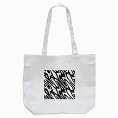 Black And White Wave Abstract Tote Bag (white)