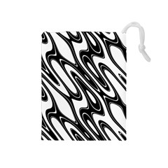 Black And White Wave Abstract Drawstring Pouches (medium)