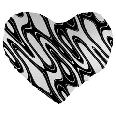 Black And White Wave Abstract Large 19  Premium Flano Heart Shape Cushions