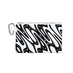 Black And White Wave Abstract Canvas Cosmetic Bag (s)