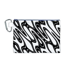 Black And White Wave Abstract Canvas Cosmetic Bag (m)