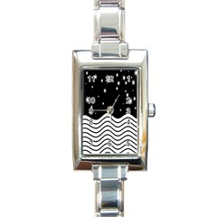 Black And White Waves And Stars Abstract Backdrop Clipart Rectangle Italian Charm Watch