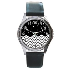 Black And White Waves And Stars Abstract Backdrop Clipart Round Metal Watch