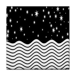 Black And White Waves And Stars Abstract Backdrop Clipart Tile Coasters