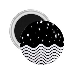 Black And White Waves And Stars Abstract Backdrop Clipart 2 25  Magnets