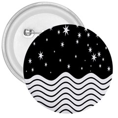 Black And White Waves And Stars Abstract Backdrop Clipart 3  Buttons