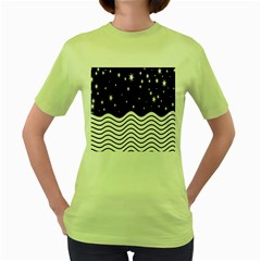 Black And White Waves And Stars Abstract Backdrop Clipart Women s Green T Shirt