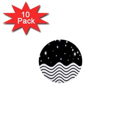 Black And White Waves And Stars Abstract Backdrop Clipart 1  Mini Buttons (10 Pack)