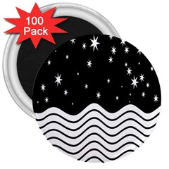 Black And White Waves And Stars Abstract Backdrop Clipart 3  Magnets (100 pack)