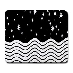 Black And White Waves And Stars Abstract Backdrop Clipart Large Mousepads