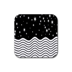 Black And White Waves And Stars Abstract Backdrop Clipart Rubber Coaster (square)