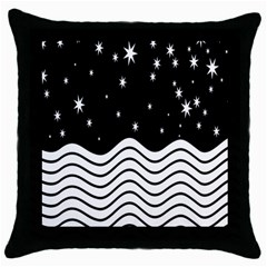 Black And White Waves And Stars Abstract Backdrop Clipart Throw Pillow Case (black)
