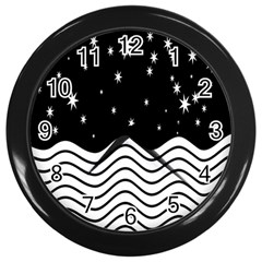 Black And White Waves And Stars Abstract Backdrop Clipart Wall Clocks (black)