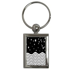 Black And White Waves And Stars Abstract Backdrop Clipart Key Chains (rectangle)