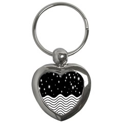 Black And White Waves And Stars Abstract Backdrop Clipart Key Chains (heart)