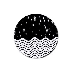 Black And White Waves And Stars Abstract Backdrop Clipart Rubber Round Coaster (4 Pack)