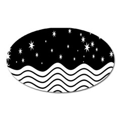 Black And White Waves And Stars Abstract Backdrop Clipart Oval Magnet