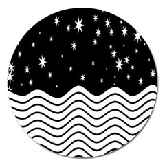 Black And White Waves And Stars Abstract Backdrop Clipart Magnet 5  (round)