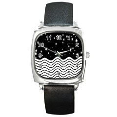 Black And White Waves And Stars Abstract Backdrop Clipart Square Metal Watch