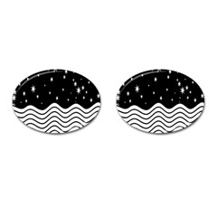 Black And White Waves And Stars Abstract Backdrop Clipart Cufflinks (oval)