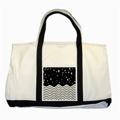 Black And White Waves And Stars Abstract Backdrop Clipart Two Tone Tote Bag