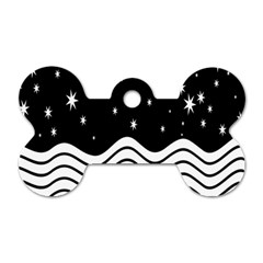 Black And White Waves And Stars Abstract Backdrop Clipart Dog Tag Bone (two Sides)