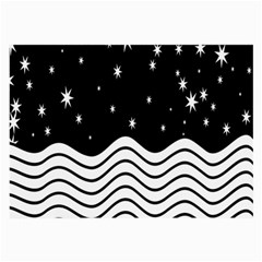 Black And White Waves And Stars Abstract Backdrop Clipart Large Glasses Cloth (2 Side)