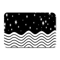 Black And White Waves And Stars Abstract Backdrop Clipart Plate Mats