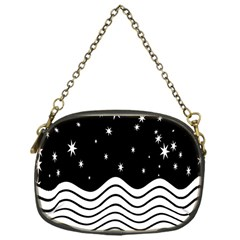 Black And White Waves And Stars Abstract Backdrop Clipart Chain Purses (one Side)