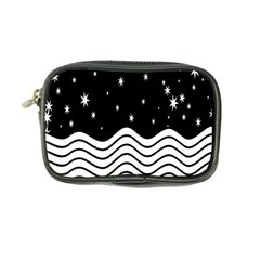 Black And White Waves And Stars Abstract Backdrop Clipart Coin Purse