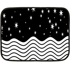 Black And White Waves And Stars Abstract Backdrop Clipart Double Sided Fleece Blanket (mini)