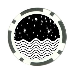 Black And White Waves And Stars Abstract Backdrop Clipart Poker Chip Card Guard (10 Pack)