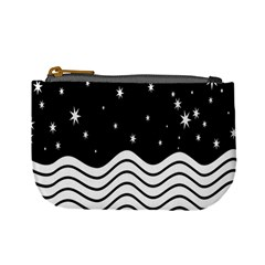 Black And White Waves And Stars Abstract Backdrop Clipart Mini Coin Purses