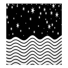 Black And White Waves And Stars Abstract Backdrop Clipart Shower Curtain 66  X 72  (large)