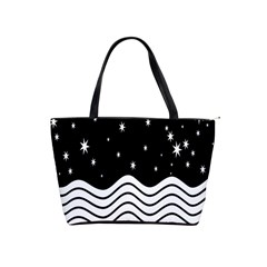 Black And White Waves And Stars Abstract Backdrop Clipart Shoulder Handbags