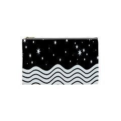 Black And White Waves And Stars Abstract Backdrop Clipart Cosmetic Bag (small)