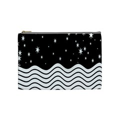 Black And White Waves And Stars Abstract Backdrop Clipart Cosmetic Bag (medium)