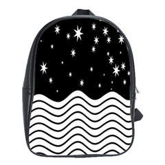 Black And White Waves And Stars Abstract Backdrop Clipart School Bags(large)