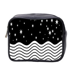 Black And White Waves And Stars Abstract Backdrop Clipart Mini Toiletries Bag 2 Side