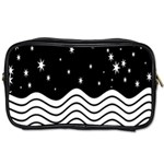 Black And White Waves And Stars Abstract Backdrop Clipart Toiletries Bags 2-Side Front