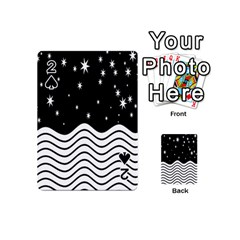 Black And White Waves And Stars Abstract Backdrop Clipart Playing Cards 54 (mini)