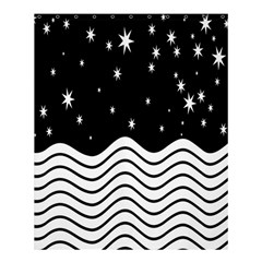 Black And White Waves And Stars Abstract Backdrop Clipart Shower Curtain 60  X 72  (medium)